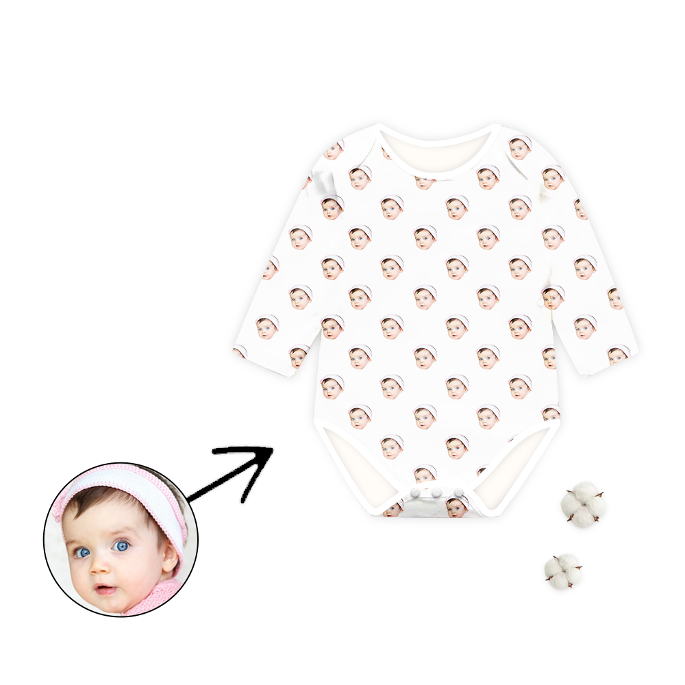 Custom Photo Baby Bodysuit I Love My Baby Long Sleeve