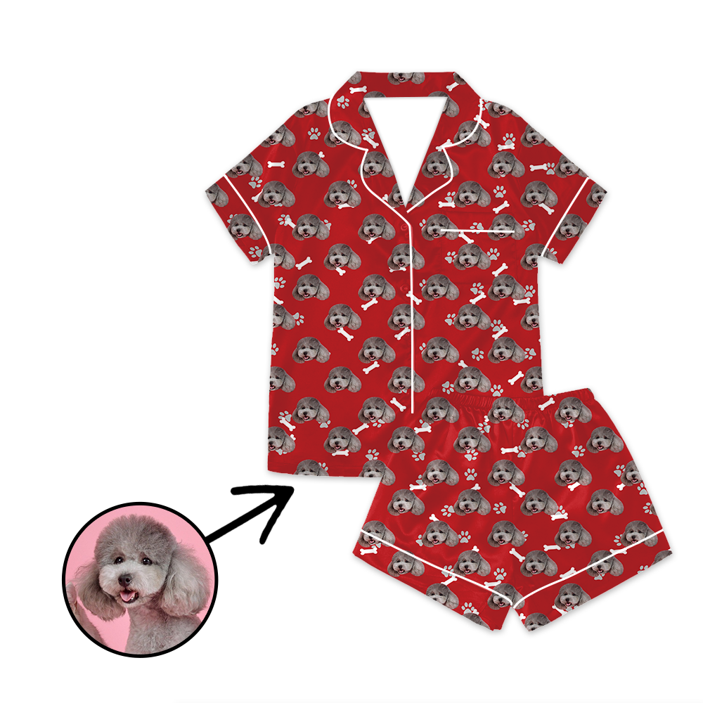 Custom Photo Satin Pajamas Dog Footprint Red For Summer