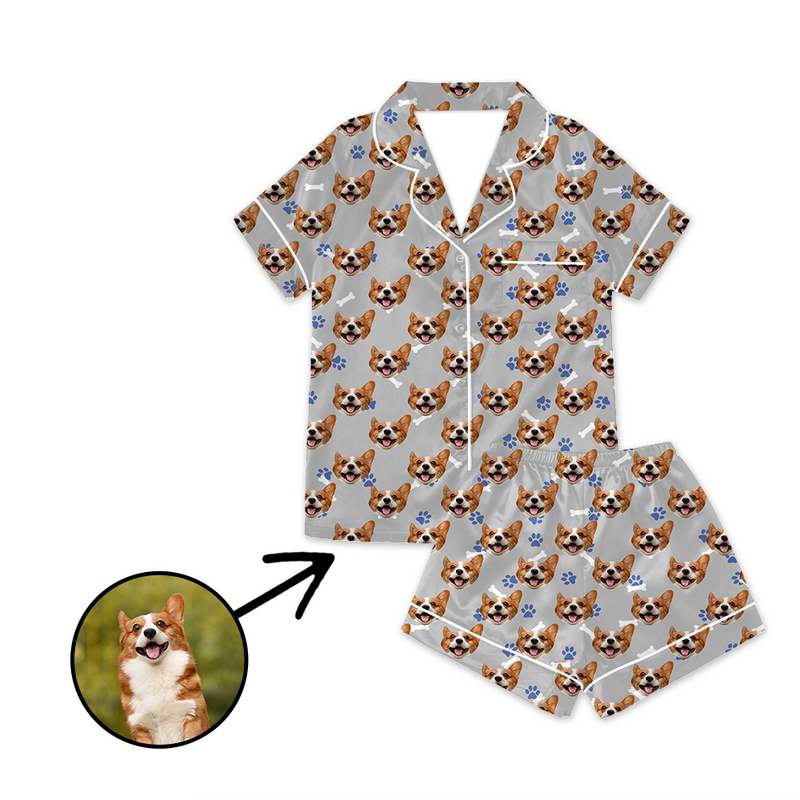 Custom Photo Satin Pajamas Dog Footprint Summer