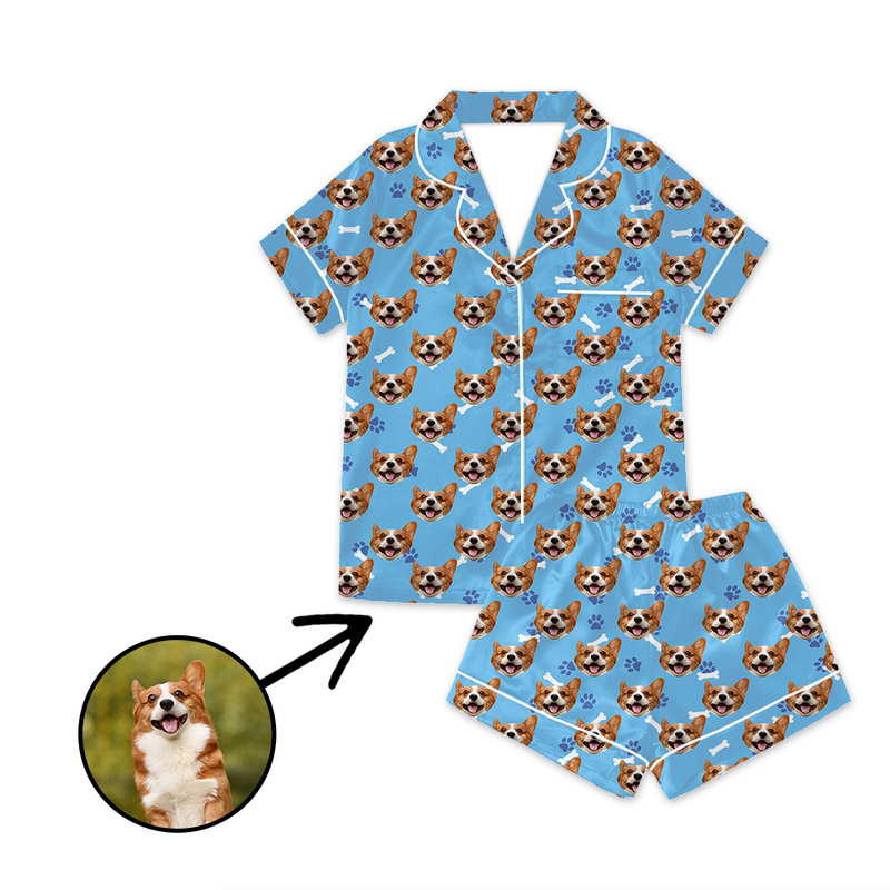 Custom Photo Satin Pajamas Dog Footprint Blue For Summer