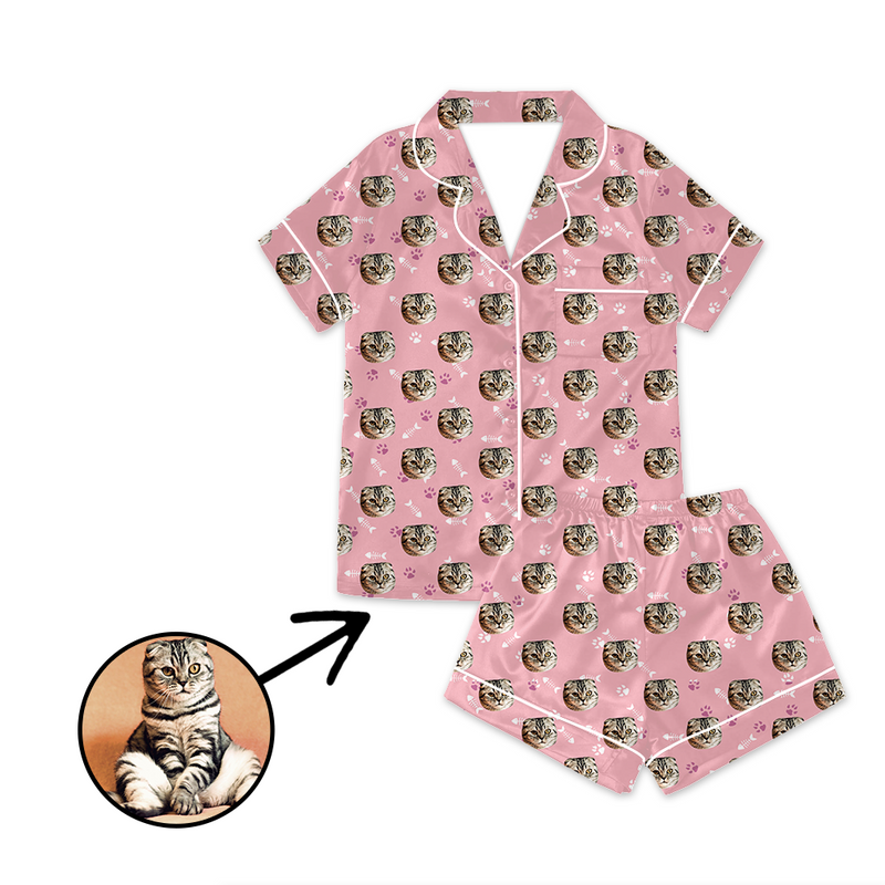 Custom Photo Satin Pajamas I Love My Cat For Summer