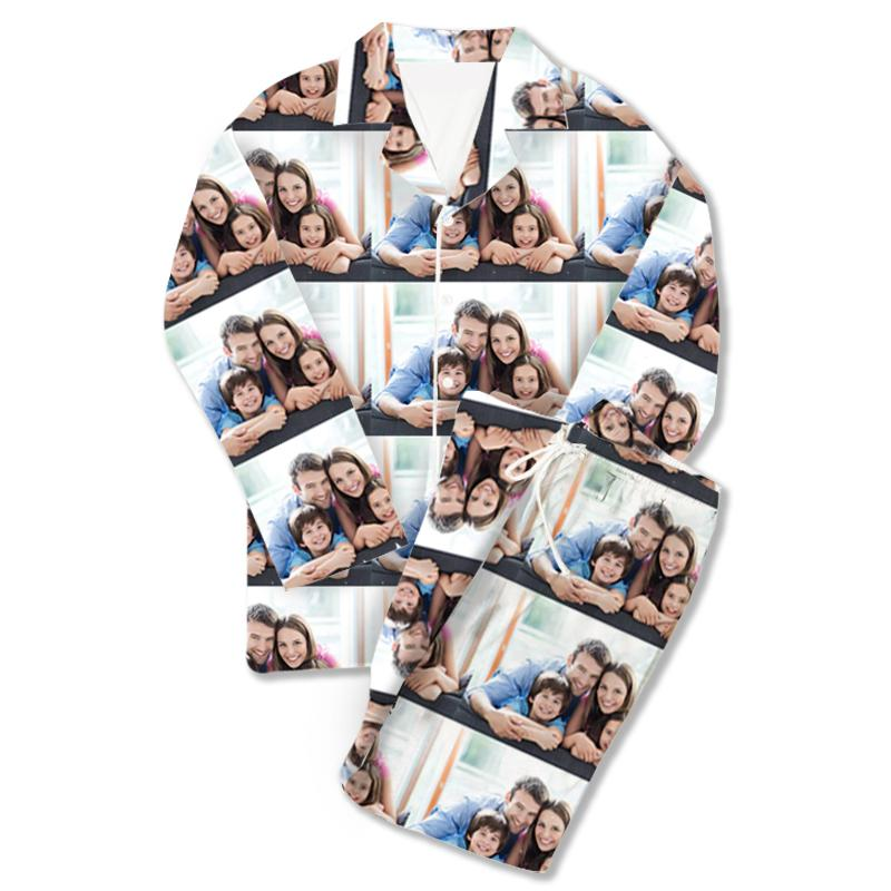 Custom Photo Pajamas Pants Heart Happy You And Me White