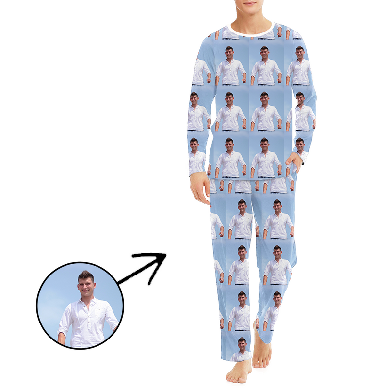 Custom Photo Pajamas For Men Whole Photo Long Sleeve