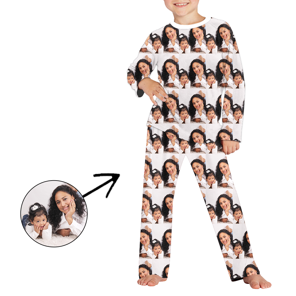 Custom Photo Pajamas For Kids Whole Photo Long Sleeve