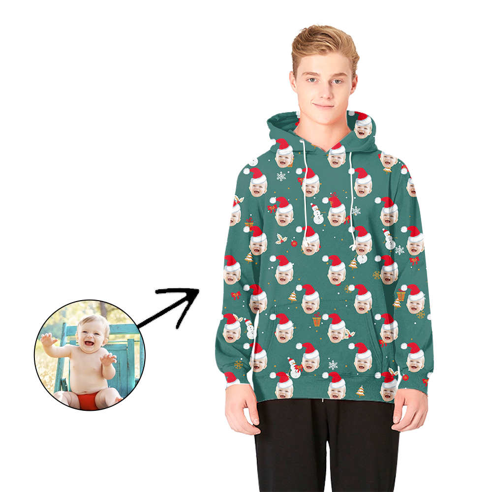 Custom Photo Hoodies Christmas Hat And Snowman