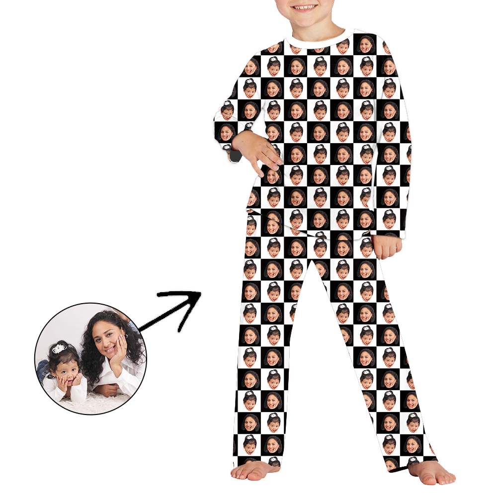 Custom Photo Pajamas For Kids Black And White Long Sleeve