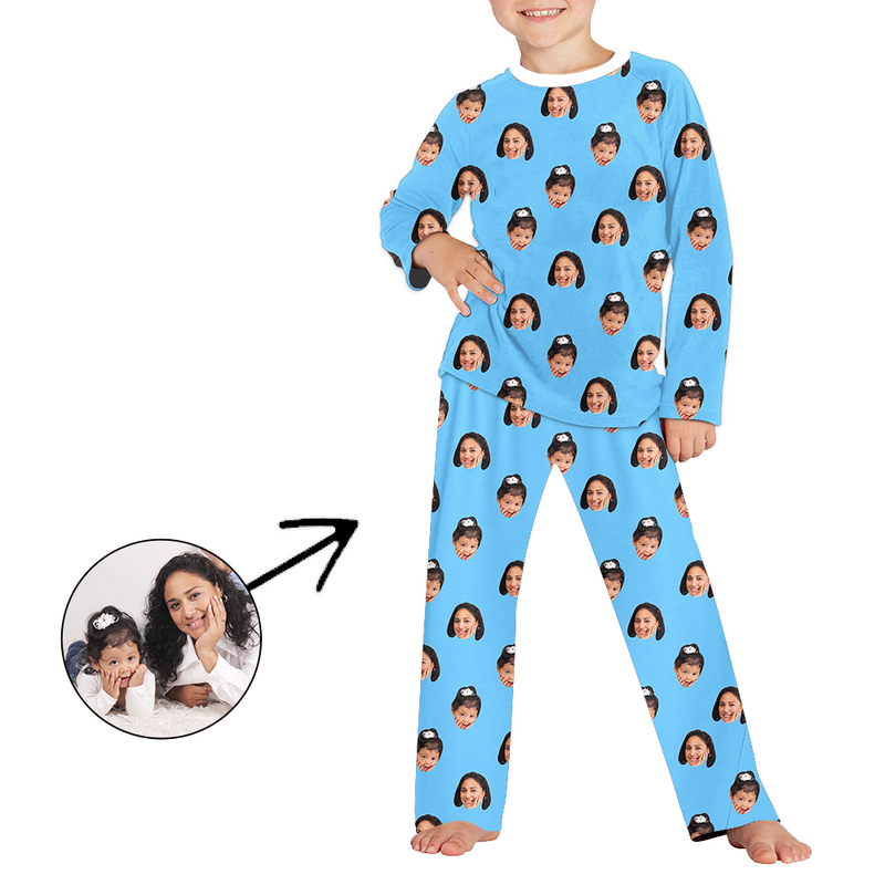 Custom Photo Pajamas For Kids Christmas Hat And Snowman Long Sleeve