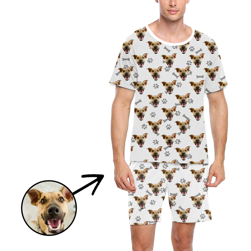 Custom Photo Pajamas For Men Dog Footprint