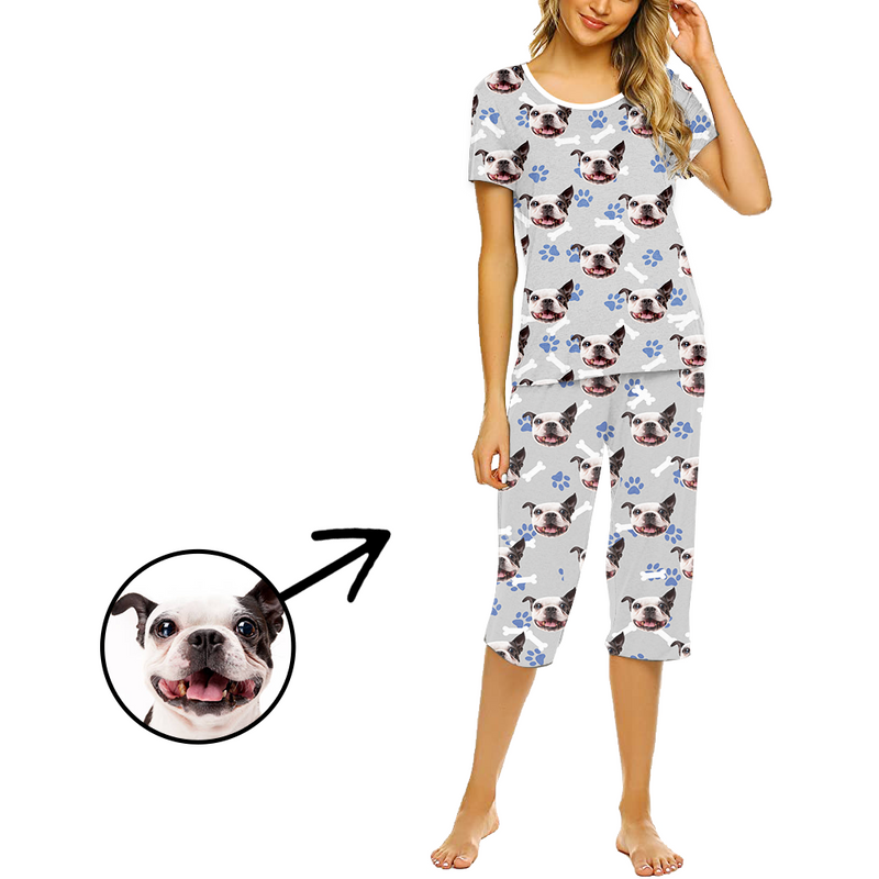 Custom Photo Pajamas For Women Dog Paw Footprint