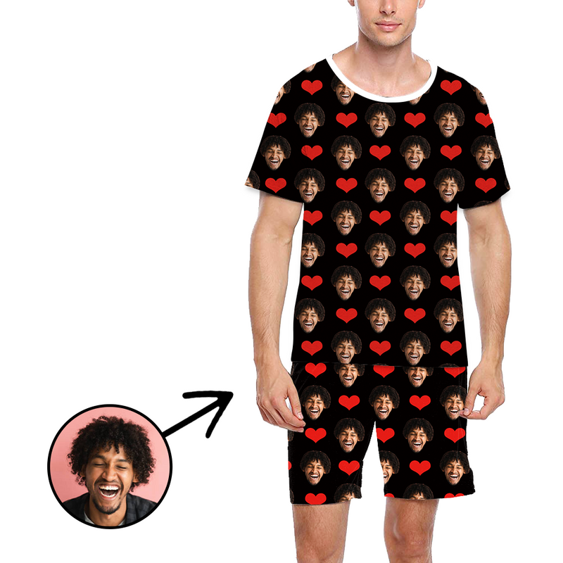 Custom Photo Pajamas For Men Heart I Love My Wife