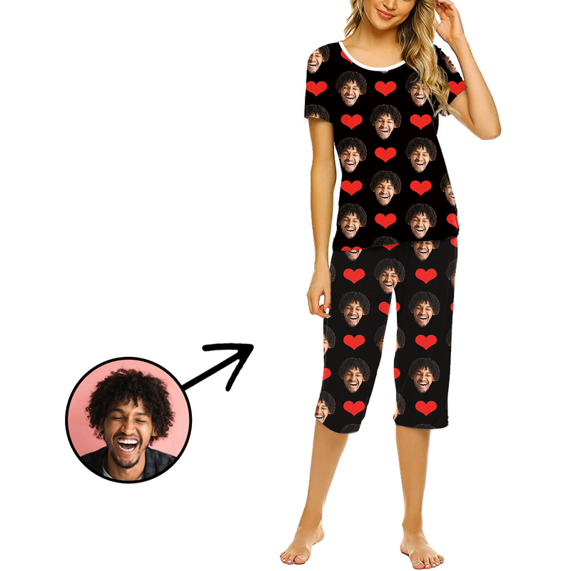 Custom Photo Pajamas For Women Funny Mash Face