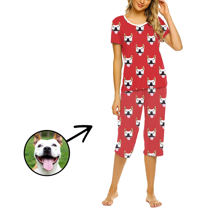 Custom Photo Pajamas For Women Dog Footprint