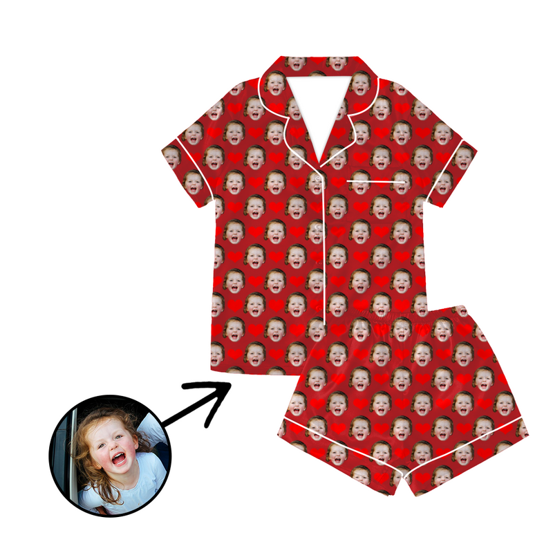 Custom Photo Satin Pajamas Heart Red For Summer