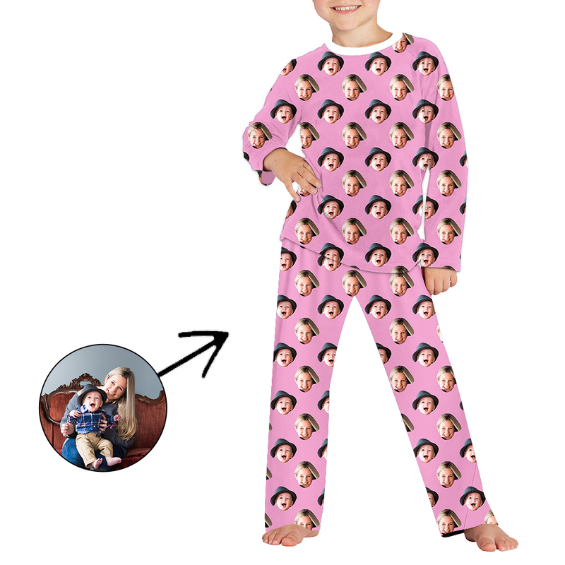 Custom Photo Pajamas For Kids My Loved One's Face Long Sleeve