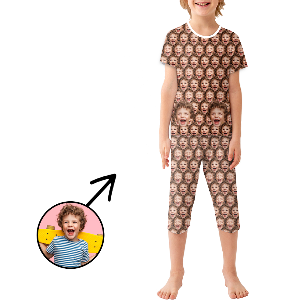 Custom Photo Pajamas For Kids Funny Mash Face