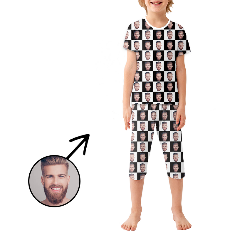 Custom Photo Pajamas For Kids Black And White