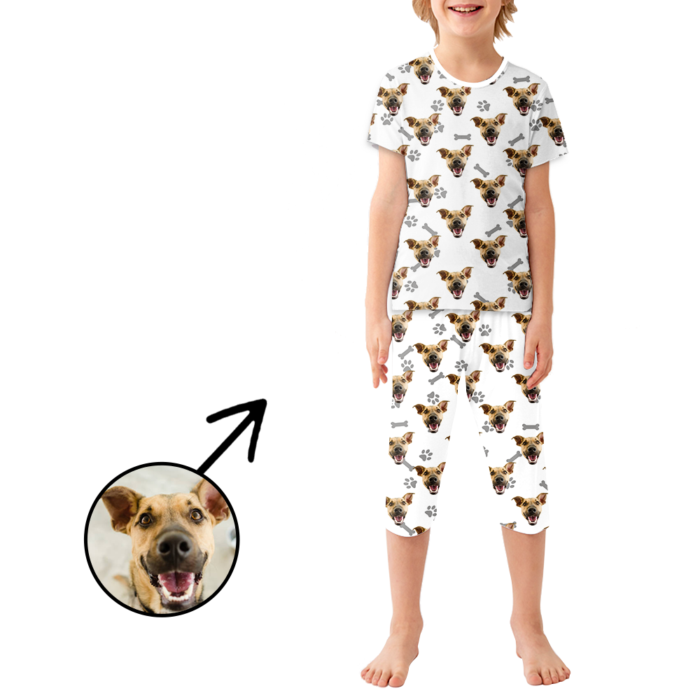 Custom Photo Pajamas For Kids Dog Footprint
