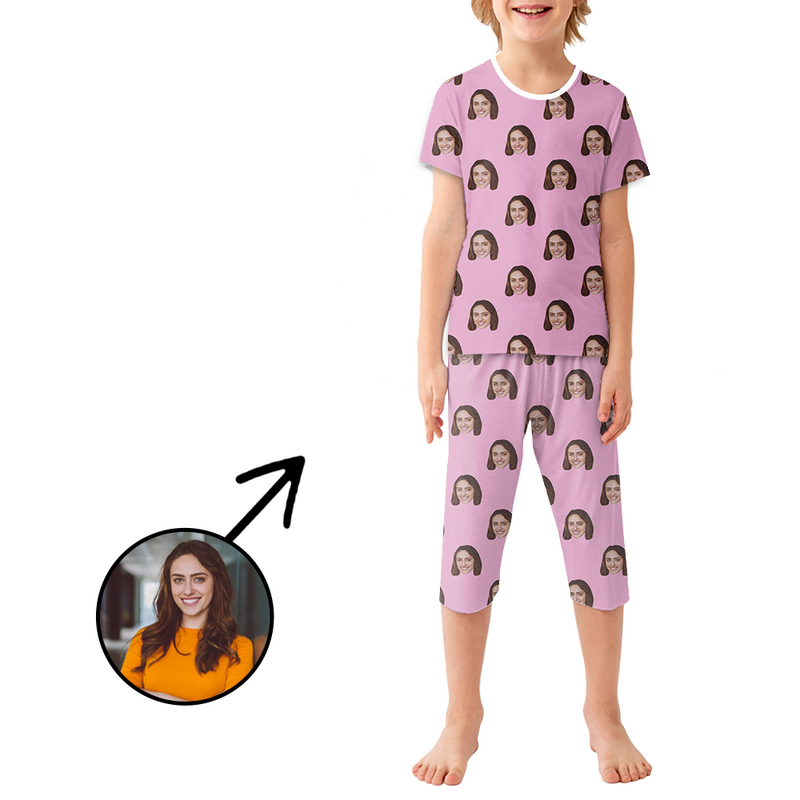Custom Photo Pajamas For Kids Dog Paw Footprint