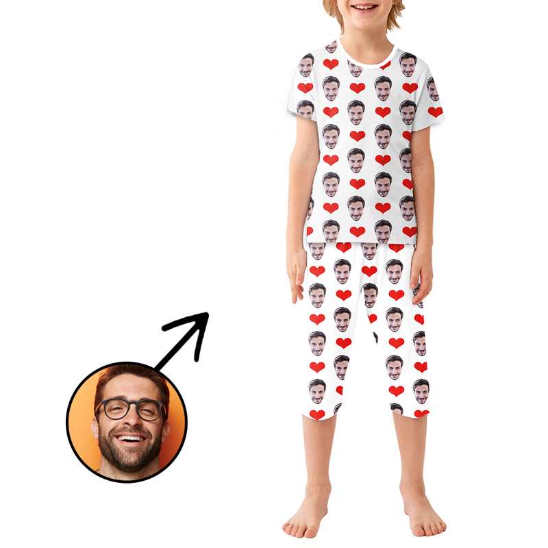 Custom Photo Pajamas For Kids Heart I Love My Dad