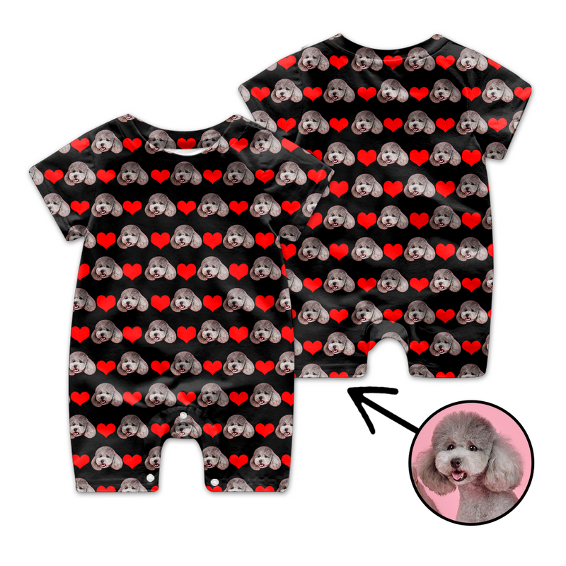 Custom Face Baby Bodysuit Heart My Loved One's Face