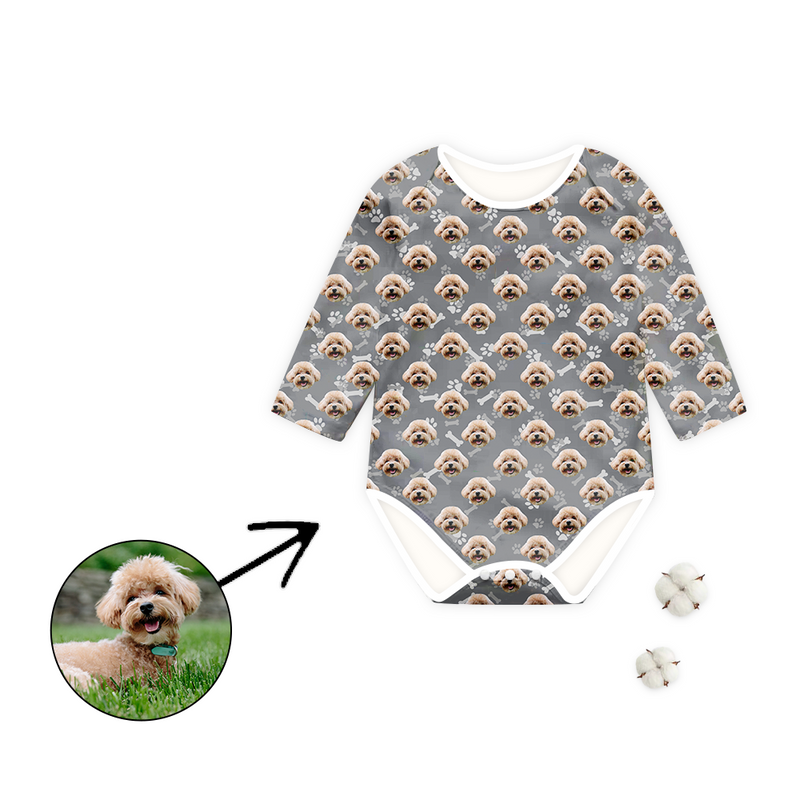 Custom Photo Baby Bodysuit I Love My Dog Footprint Long Sleeve
