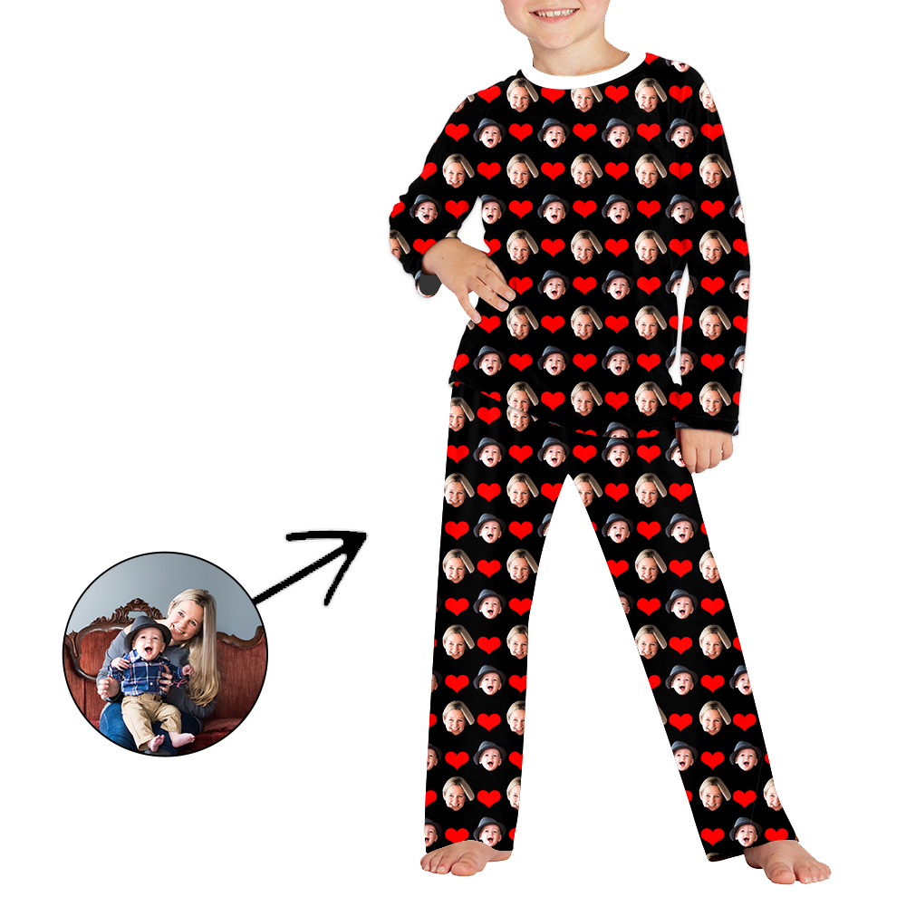 Custom Photo Pajamas For Kids I Love My Baby Long Sleeve
