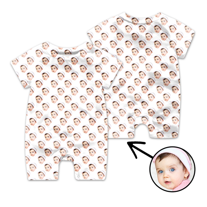 Custom Face Baby Bodysuit Cat Footprint