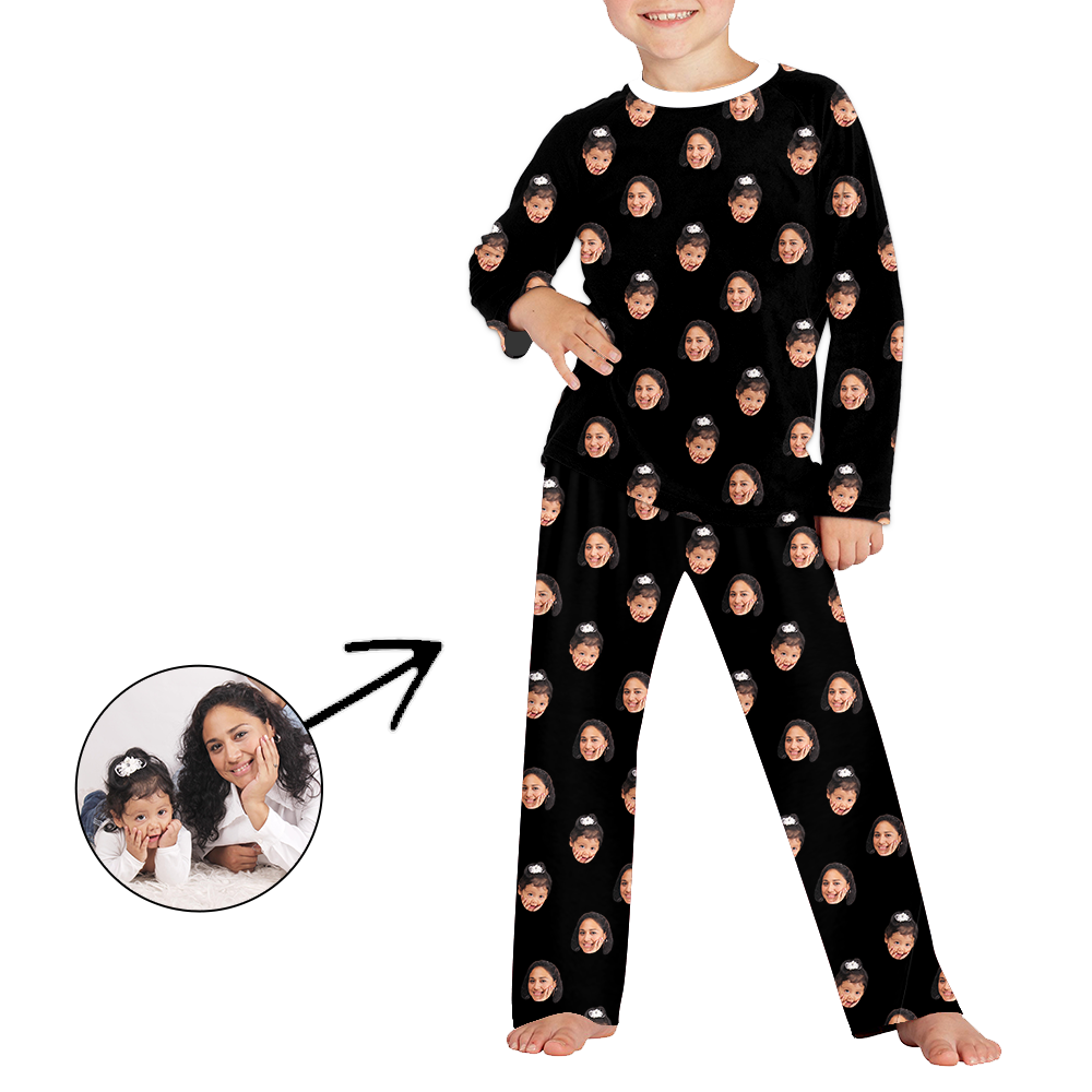 Custom Photo Pajamas Christmas Pajamas For Kids I Love My Wife Long Sleeve