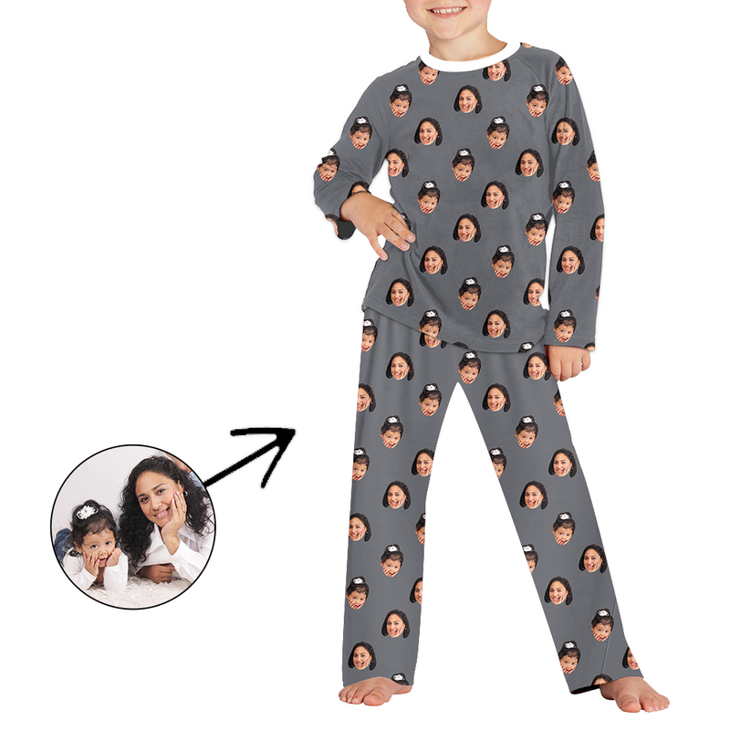 Custom Photo Pajamas For Kids Dog Footprint Long Sleeve
