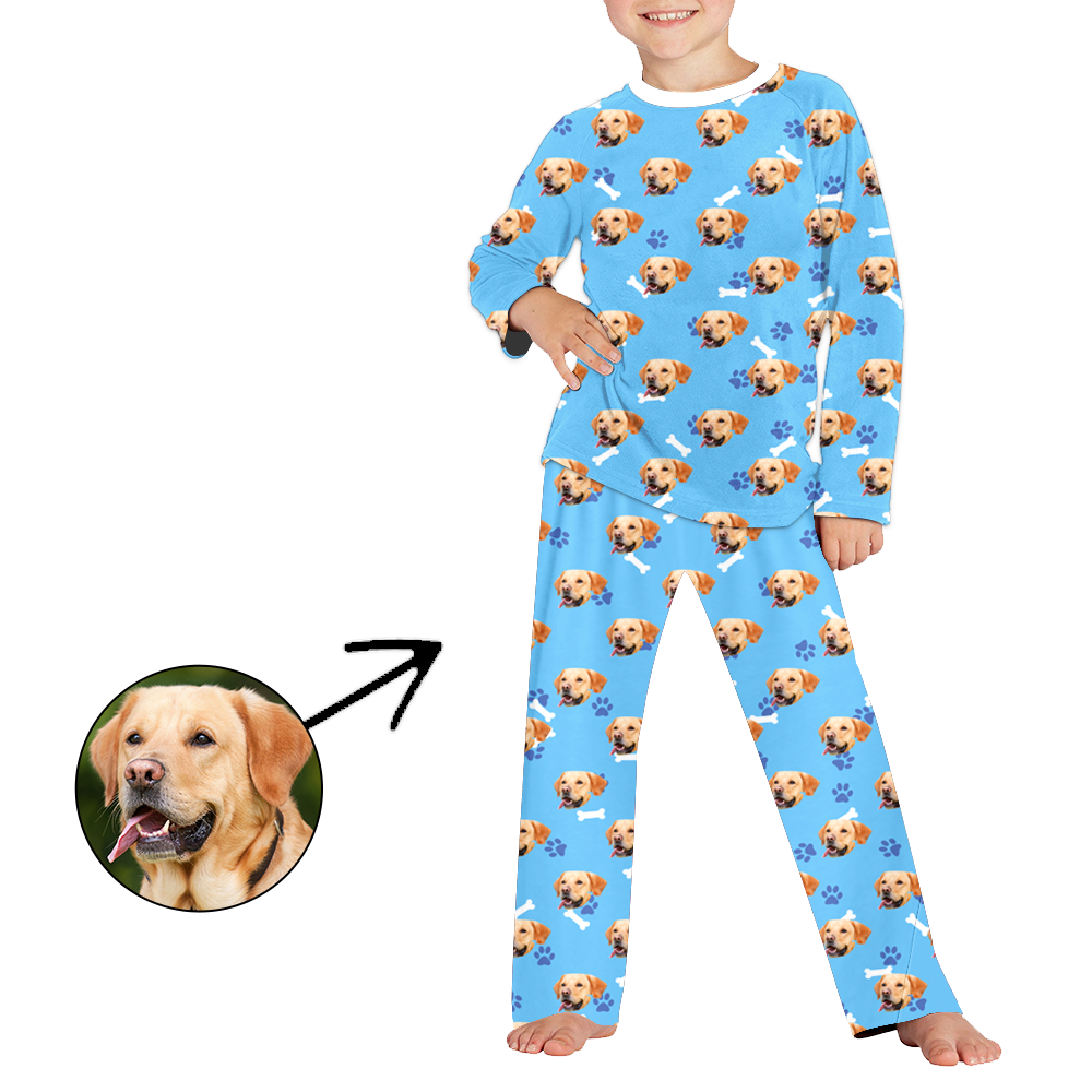 Custom Photo Pajamas For Kids Dog Paw Footprint Long Sleeve