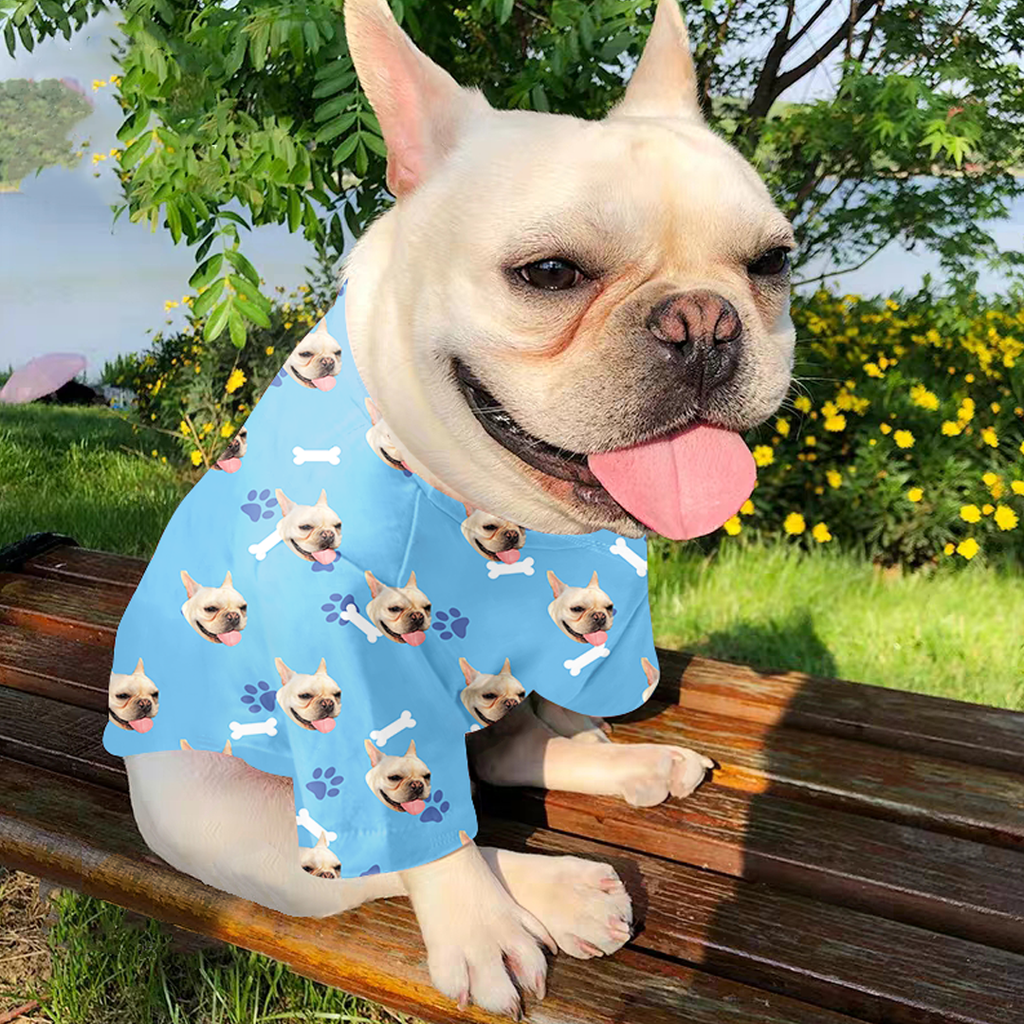 Custom Dog Pajamas Dog Footprint Blue