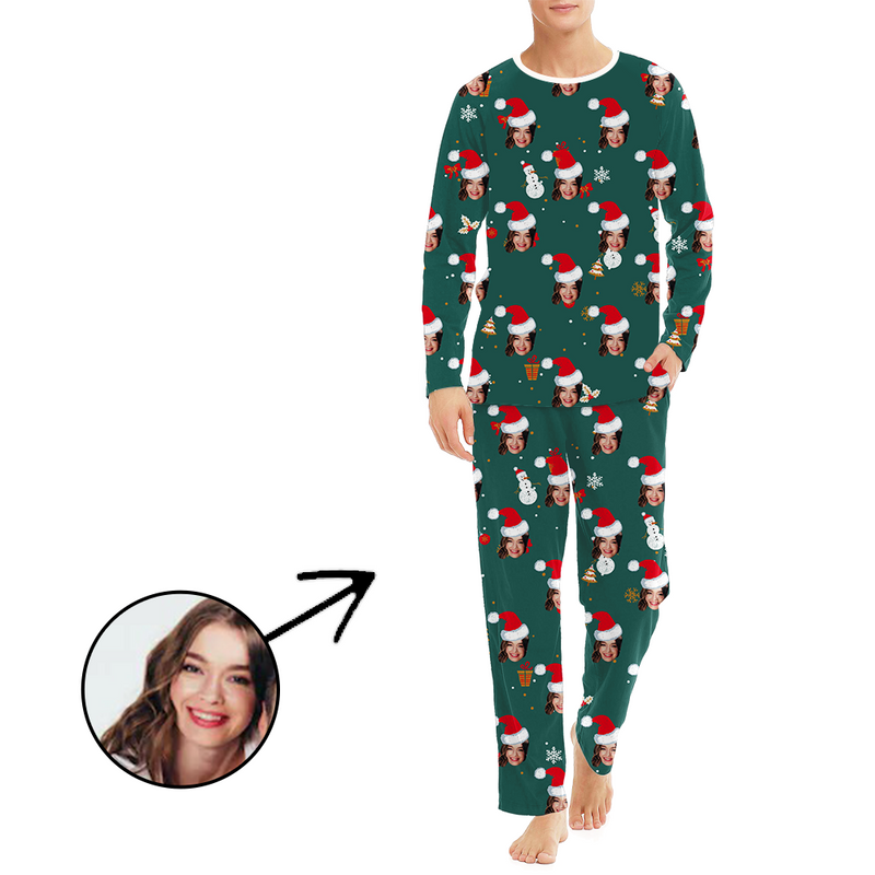 Custom Women's Photo Pajamas Christmas Reindeer And Tree Long Sleeve