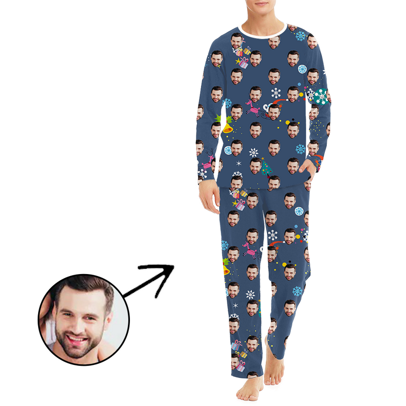 Custom Men's Photo Pajamas Christmas Bell Long Sleeve