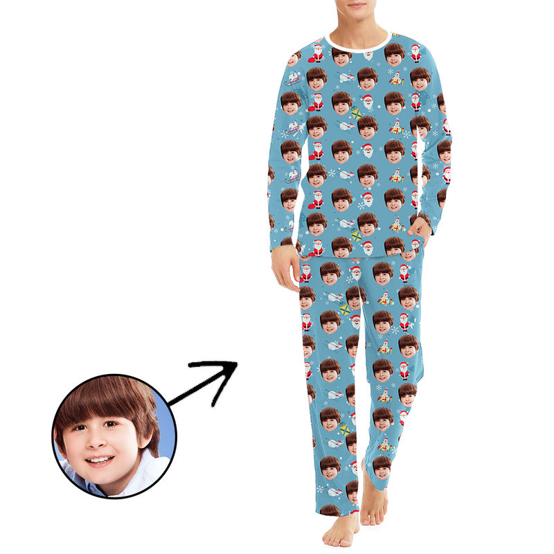 Custom Men's Photo Pajamas Santa And Sled Long Sleeve