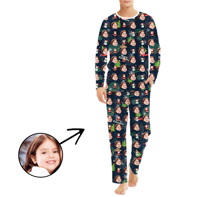 Custom Women's Photo Pajamas Christmas Reindeer Long Sleeve