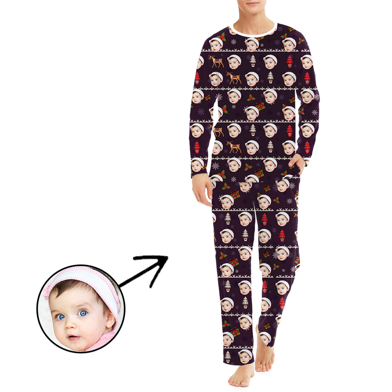 Custom Men's Photo Pajamas Christmas Reindeer And Tree Long Sleeve
