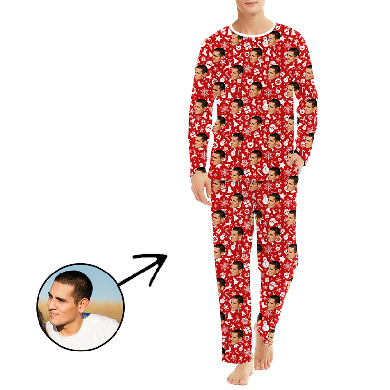 Custom Men's Photo Pajamas Happy Holidays Long Sleeve