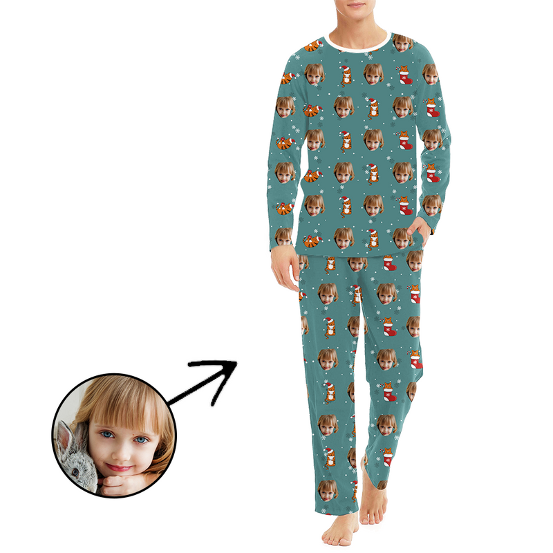 Custom Men's Photo Pajamas Christmas Socks And Cat Long Sleeve