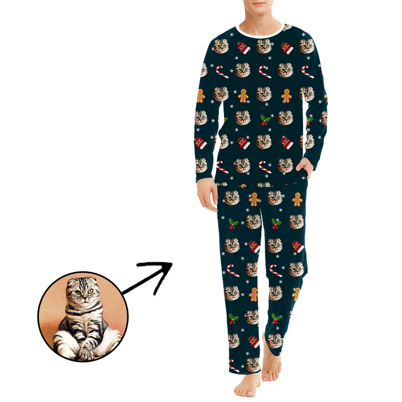 Custom Christmas Pajamas Men's Photo Pajamas Christmas Hat And Snowman Long Sleeve