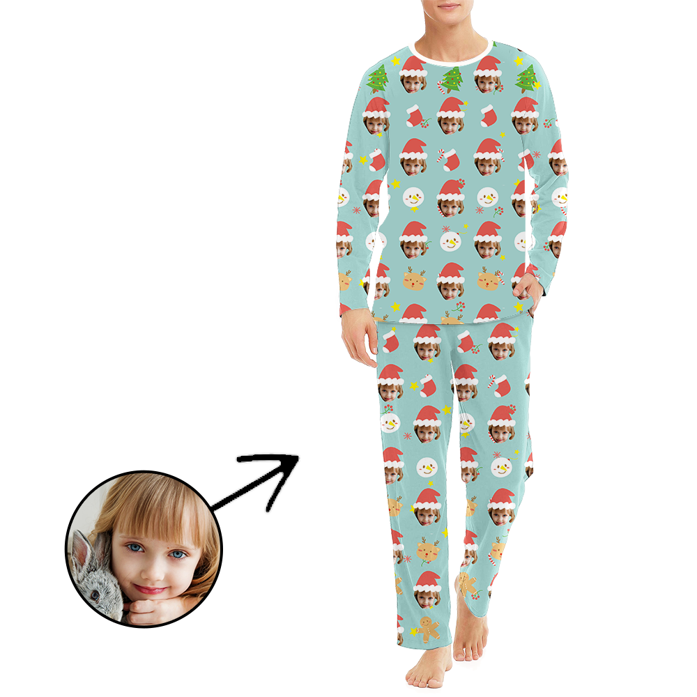 Custom Men's Photo Pajamas Christmas Hat And Lovely Snowman Long Sleeve