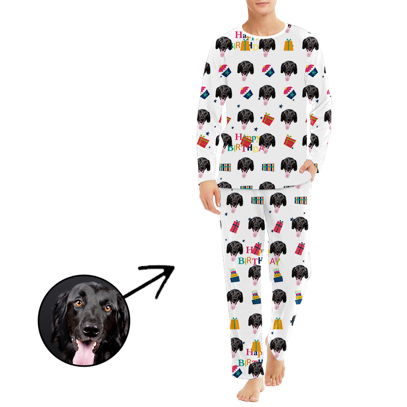Custom Men's Photo Pajamas Happy Birthday Long Sleeve