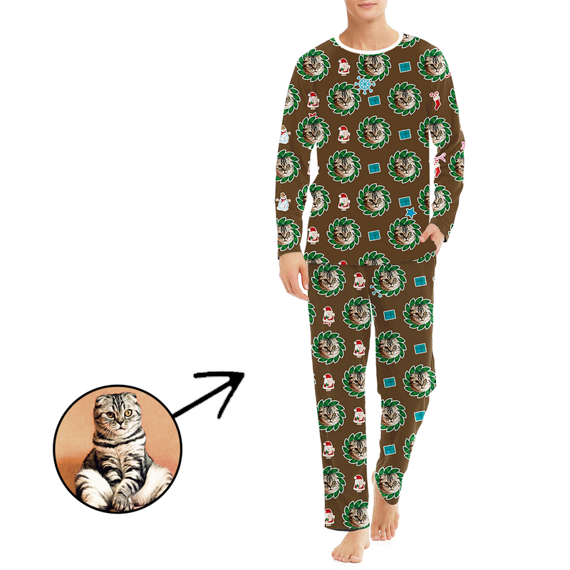 Custom Men's Photo Pajamas Flower Long Sleeve