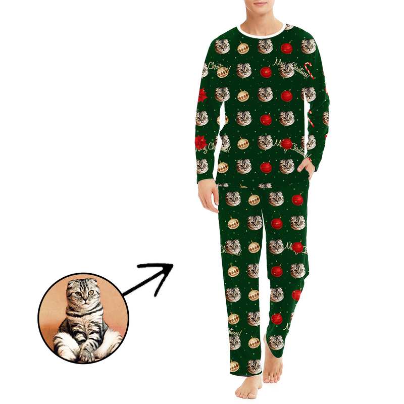 Custom Men's Photo Pajamas Merry Christmas Gift Long Sleeve