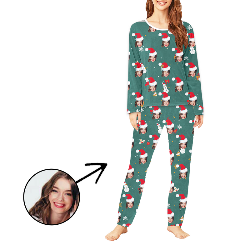 Custom Women's Photo Pajamas Christmas Hat And Lovely Snowman Long Sleeve