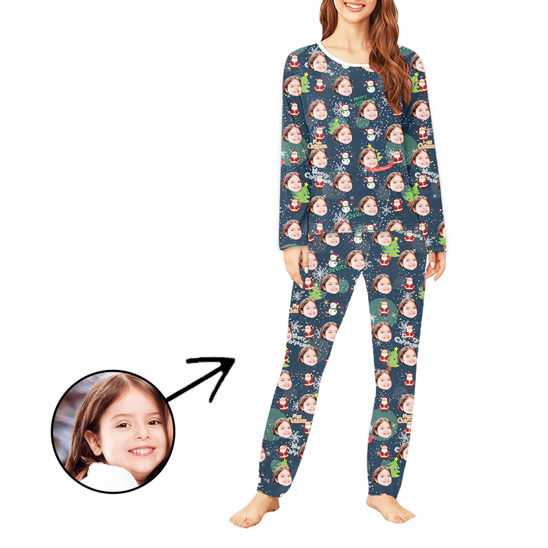 Custom Women's Photo Pajamas Santa And Sled Long Sleeve