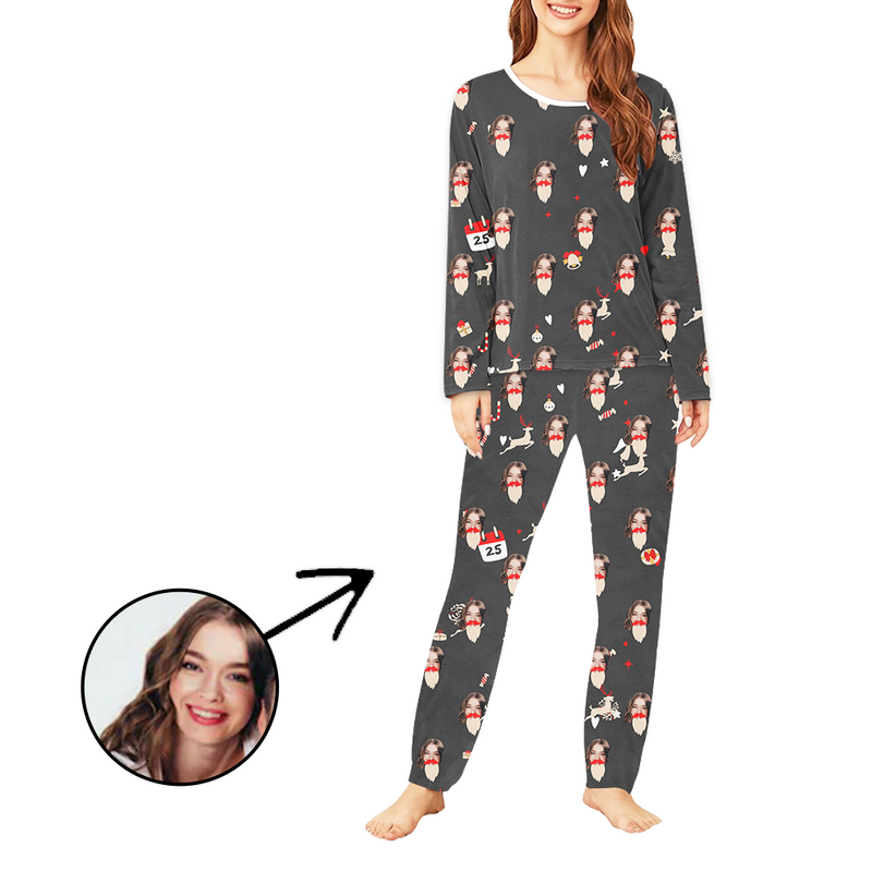 Custom Women's Photo Pajamas Reindeer And Candy Long Sleeve