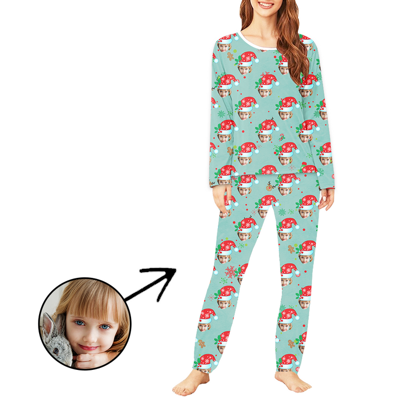 Custom Women's Photo Pajamas Christmas Hat And Gingerbread Man Long Sleeve