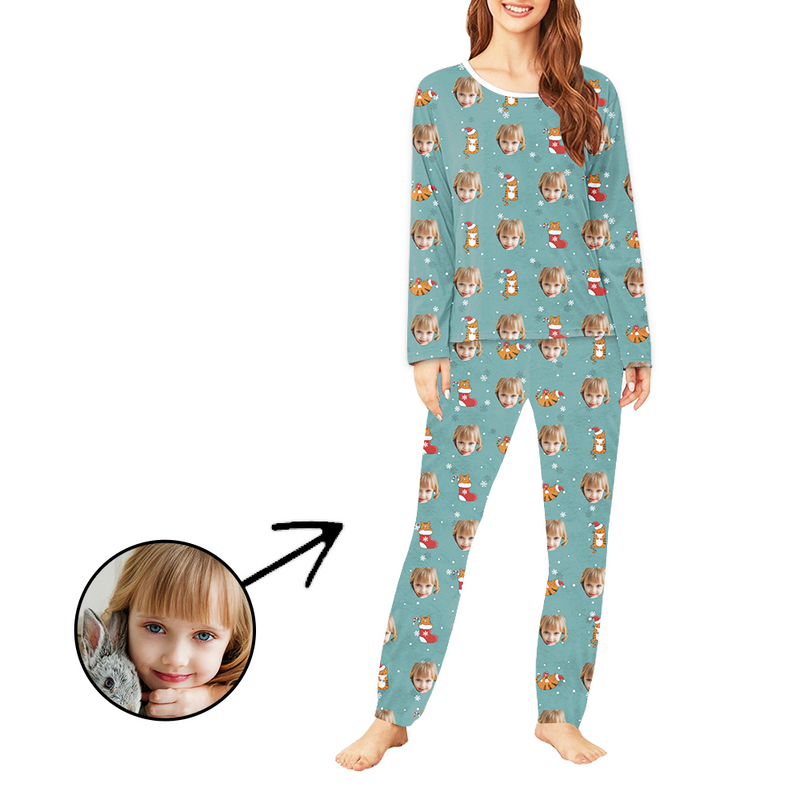Custom Women's Photo Pajamas Christmas Socks And Cat Long Sleeve