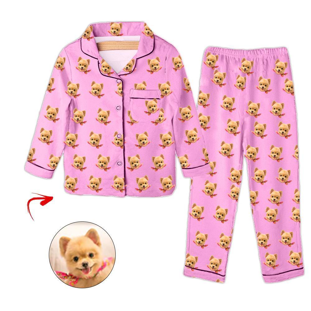 Custom Photo Kids Pajamas I Love My Dog Pink