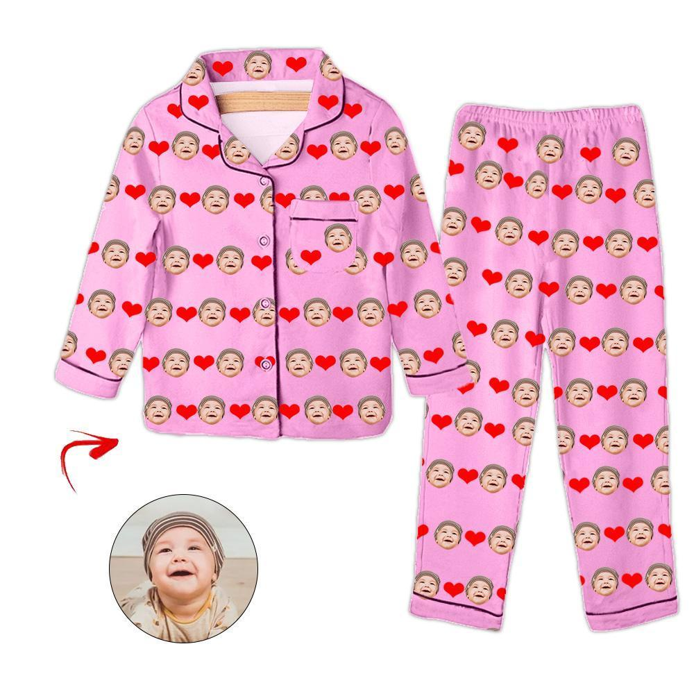 Custom Photo Kid's Pajamas Heart I Love My Baby Blue